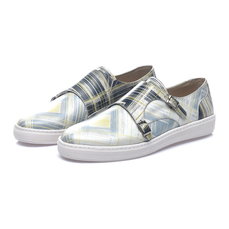 David Double Monk Strap Sneaker // Grey + Yellow + Navy
