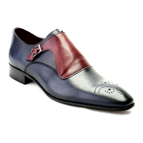 Two-Toned Buckled Dress Shoe // Dark Blue + Bordeaux