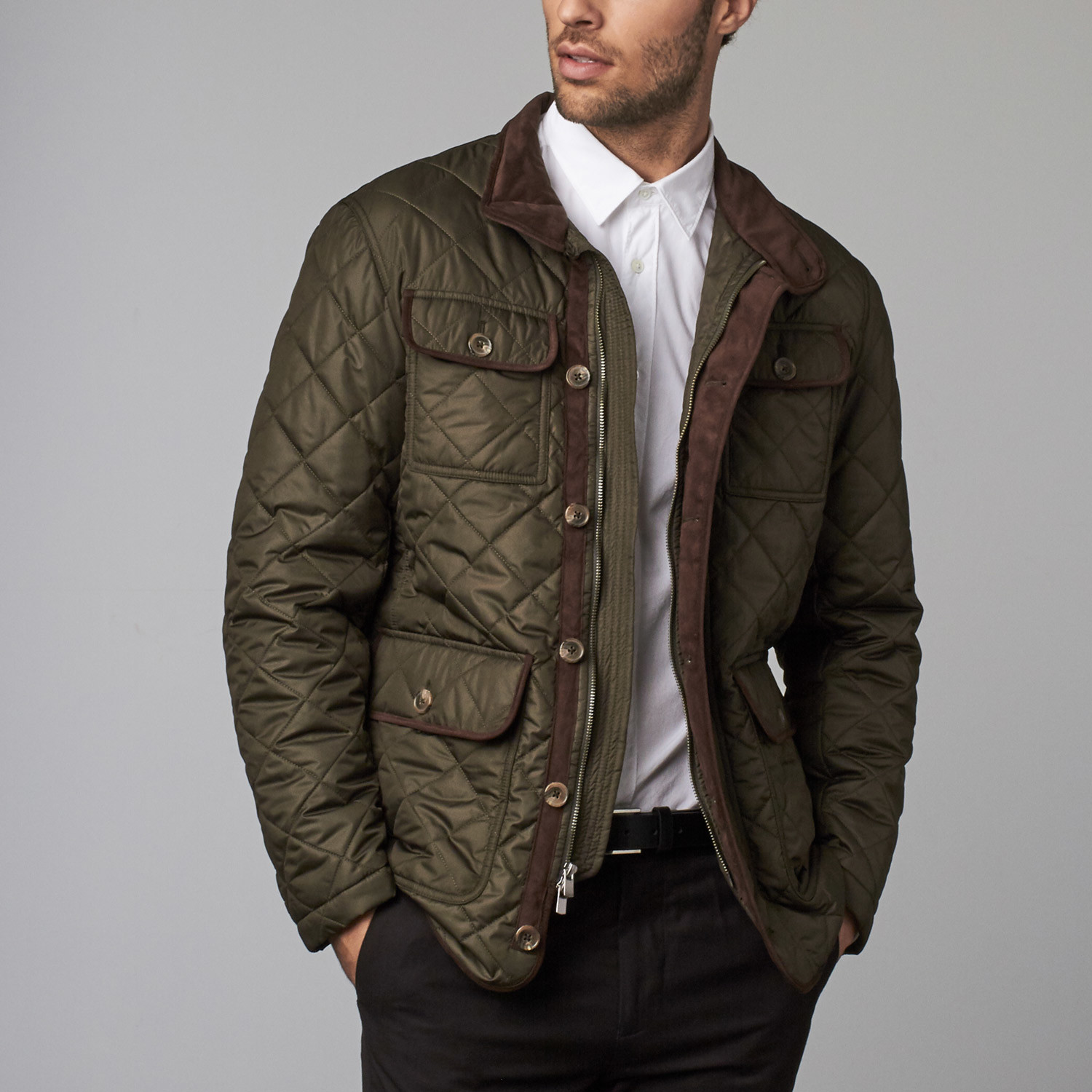 Pine Ridge Quilted Jacket Olive Xs Robert Talbott Touch Of
