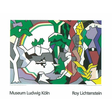 Roy Lichtenstein // Landscape With Figures and Rainbow Lg // 1989 Serigraph