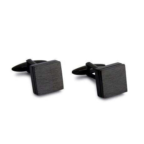 Brushed Boxed Cufflinks // Black