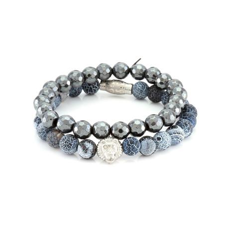 The Blue Macauba Bracelet Set // Gray + Blue