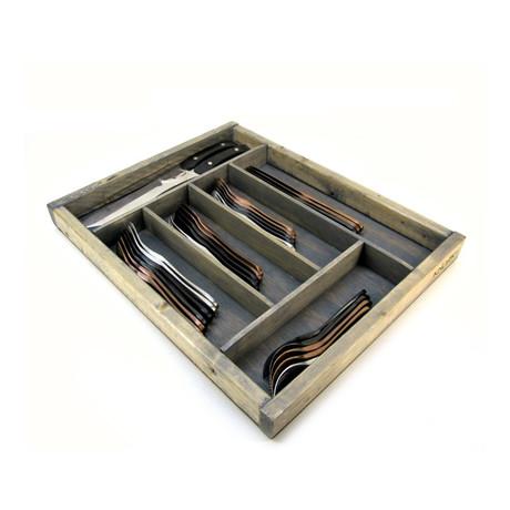 Wood Silverware Storage Tray // Large