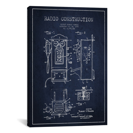 Bowers Radio Patent Blueprint // Blue