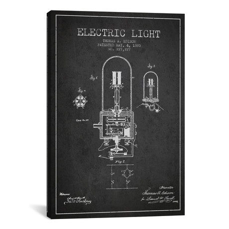 Electric Light Patent Blueprint // Charcoal