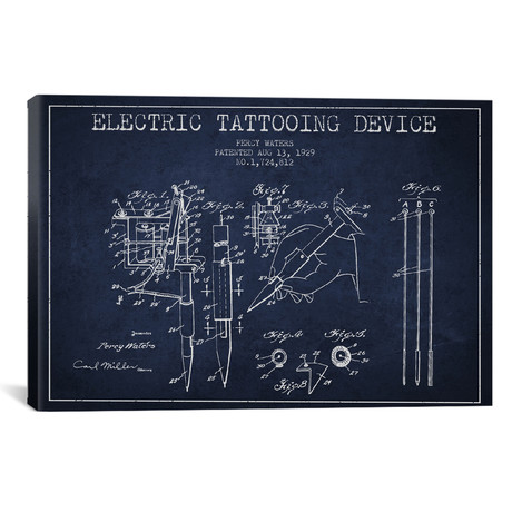 Tattoo Device Patent Blueprint // Navy Blue