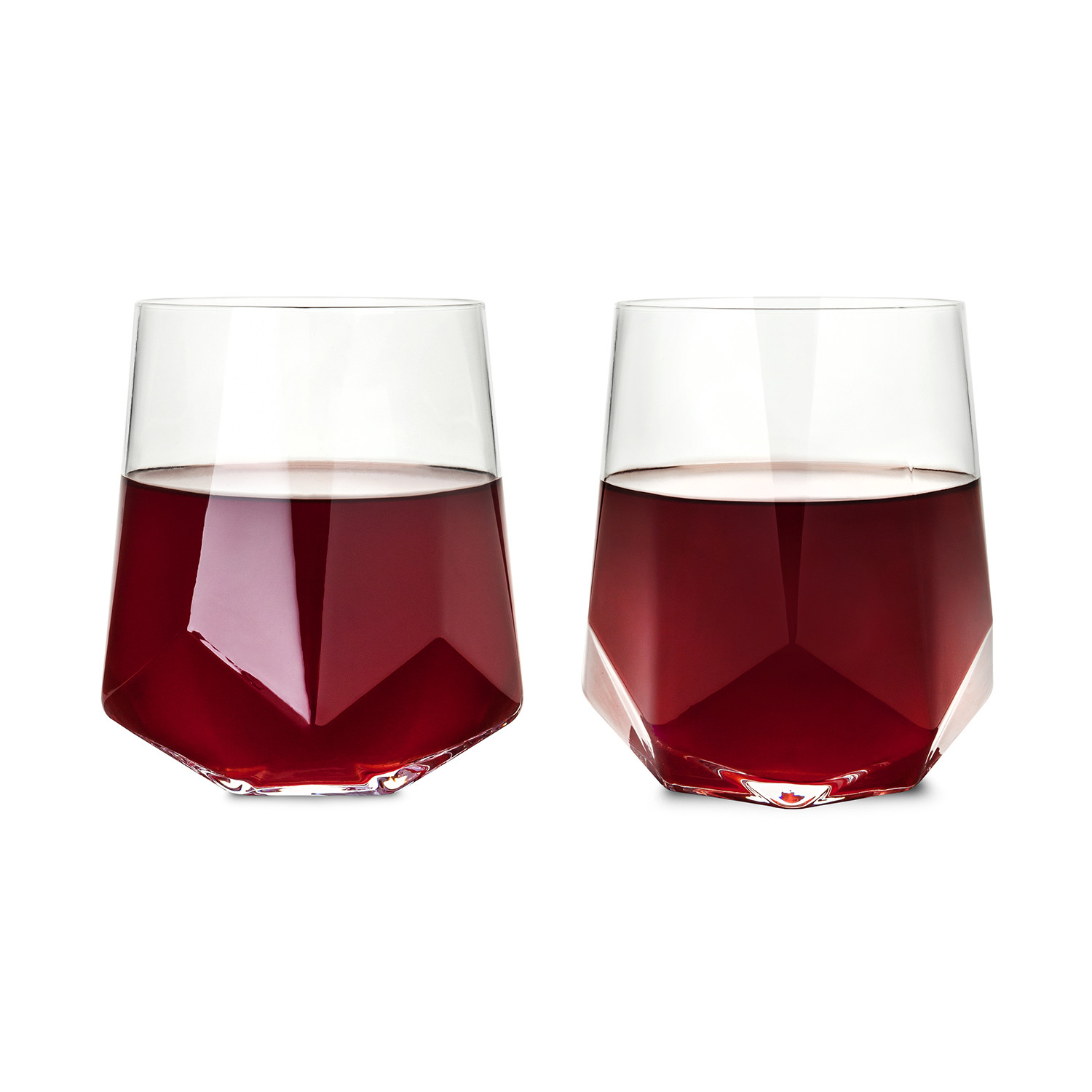 modern wine glass cupa  vino wine glass  pack sempli touch of  - raye faceted crystal wine glass set of viski touch of