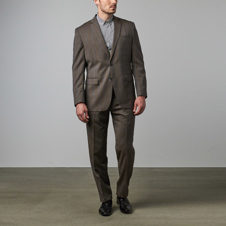 Wool Suit // Grey + Tan Check