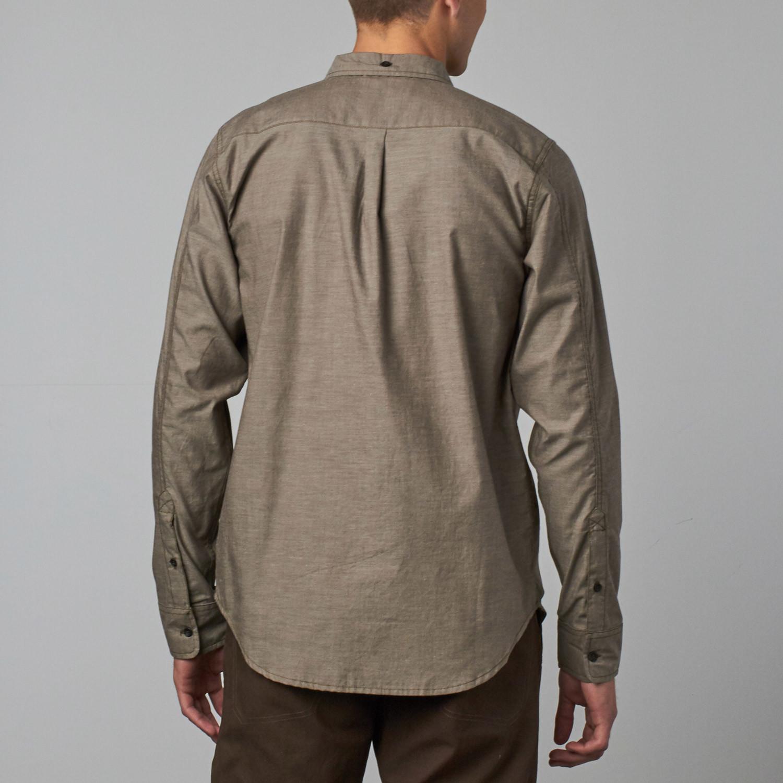 Camden Long Sleeve Button Up Shirt Dark Khaki Xs
