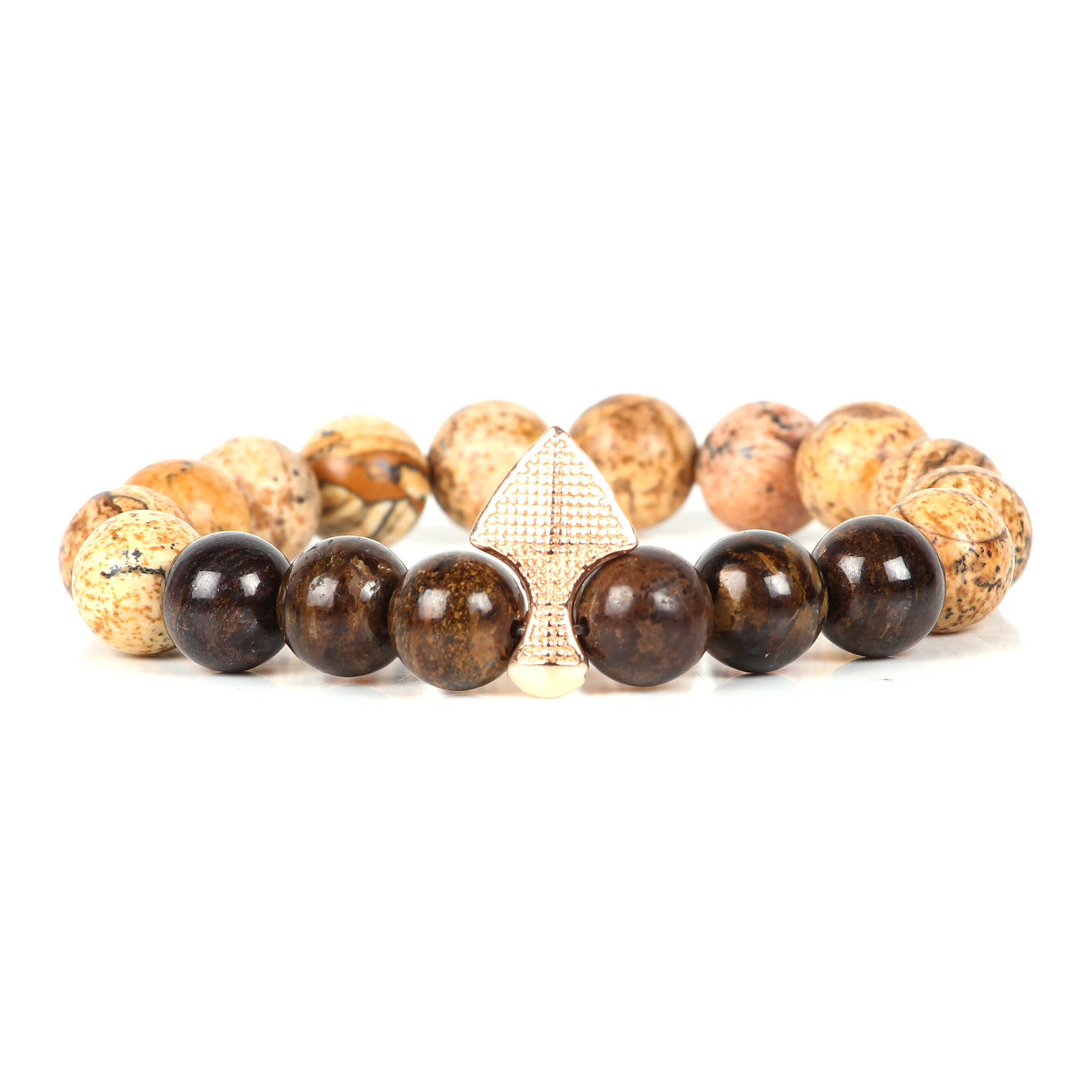 Peri Beaded Bracelet // Brown + Camel - Two Two Accessories