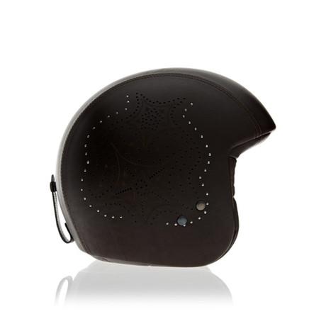 Laser Brown Leather Helmet // No Visor