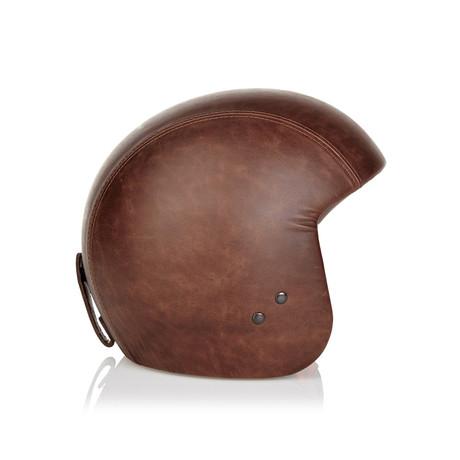Brown Leather Helmet // No Visor