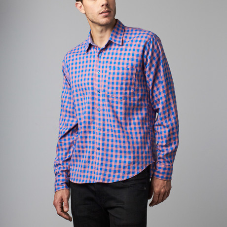Howard Gingham Button-Up // Blue + Coral