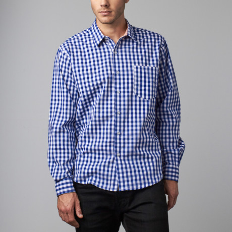 Howard Gingham Button-Up // Navy + White (S)