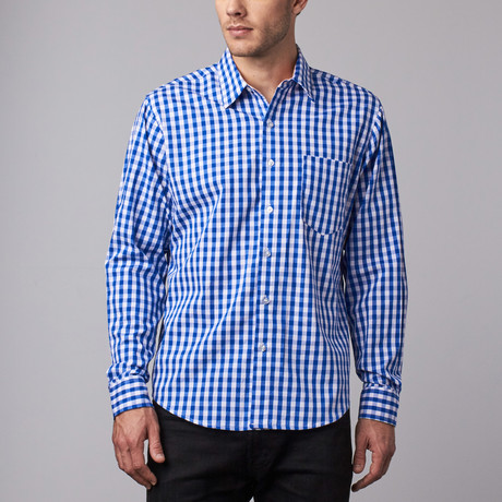 Howard Gingham Button-Up // Blue + White (S)
