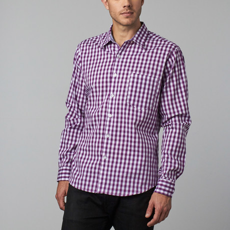 Howard Gingham Plaid Shirt // Purple + White