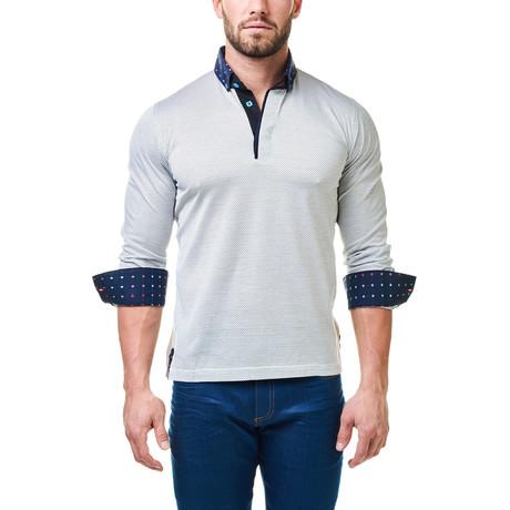 Long-Sleeve Polo // White + Black