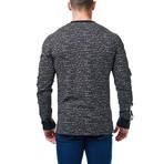 V-Neck Tetris Dress Shirt // Black + White (XS)