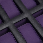 Windsor // 10 Piece Watch Box + Drawer (Black + Purple)