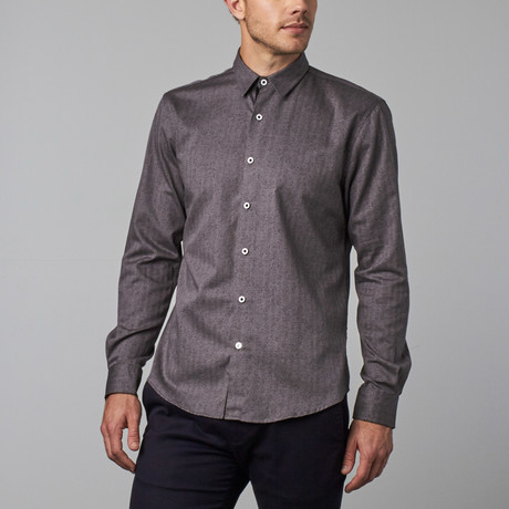 Subtle Scroll Floral Button-Up Shirt // Grey