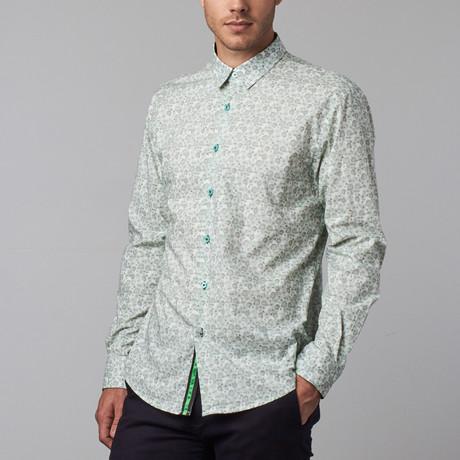 Mini Chyrsanthemum Print Button-Up Shirt // Green