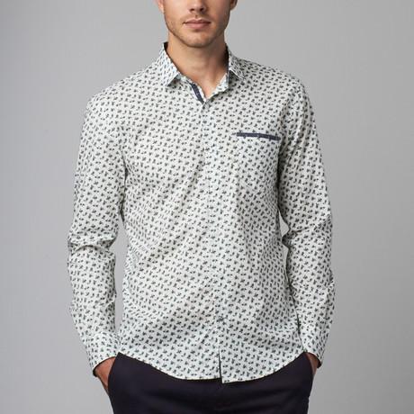 Mini Paisley Print Button-Up Shirt // White