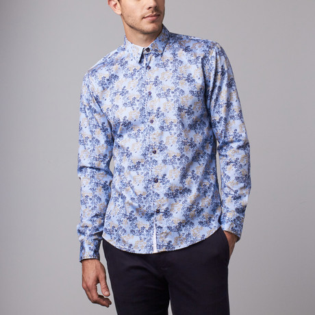 Floral Shadow Print Button-Up Shirt // Navy
