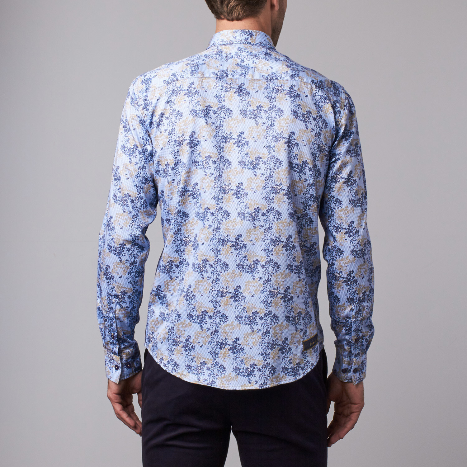 Floral shadow print button up shirt navy l last for Floral print button up shirt