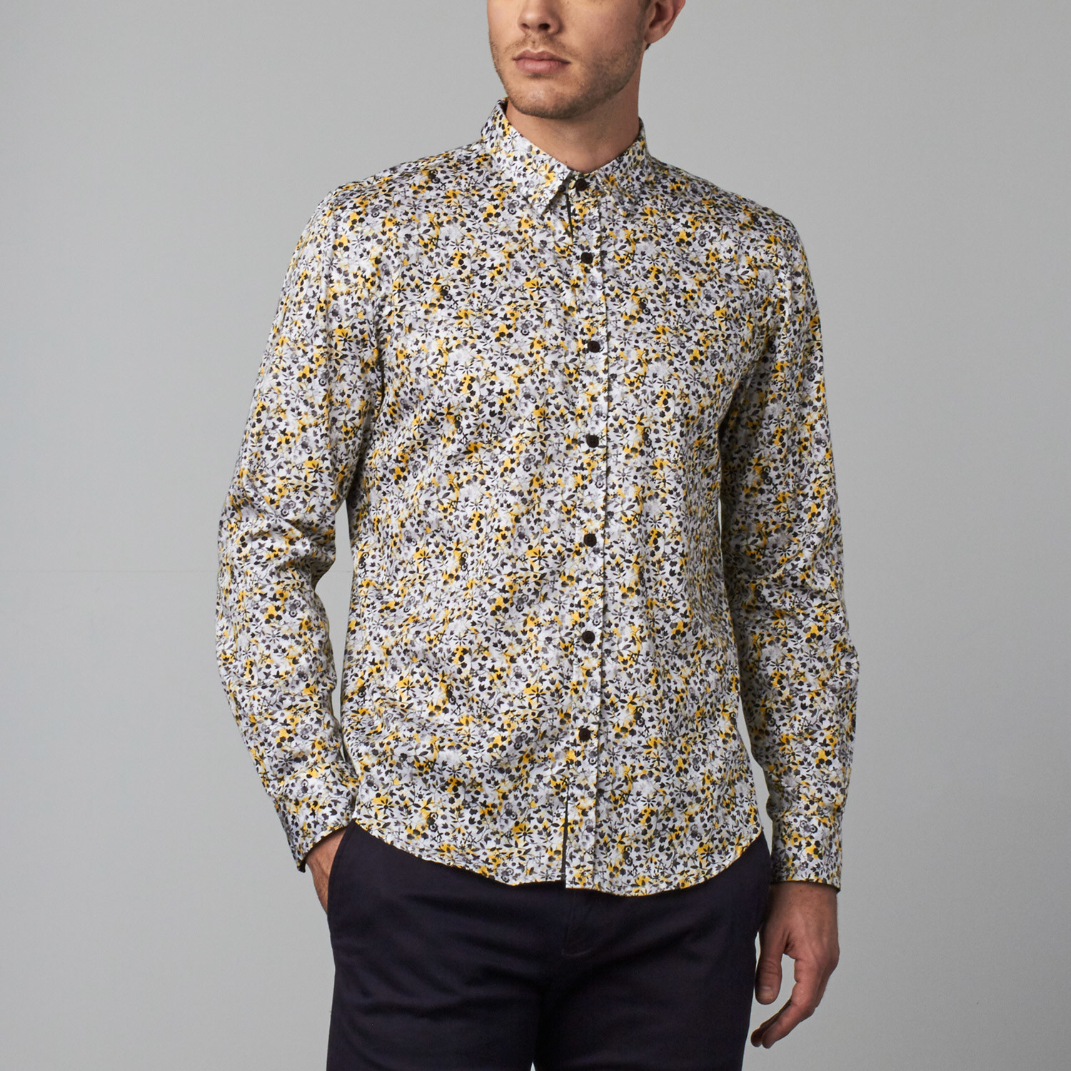 Flower ditzy print button up shirt yellow s isaac b for Floral print button up shirt