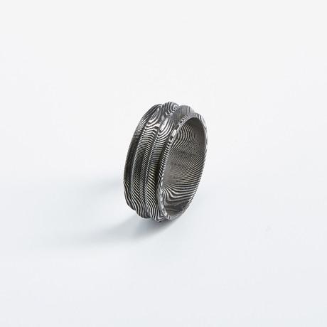 Handmade Silver Damascus Ring // Ridged Rook