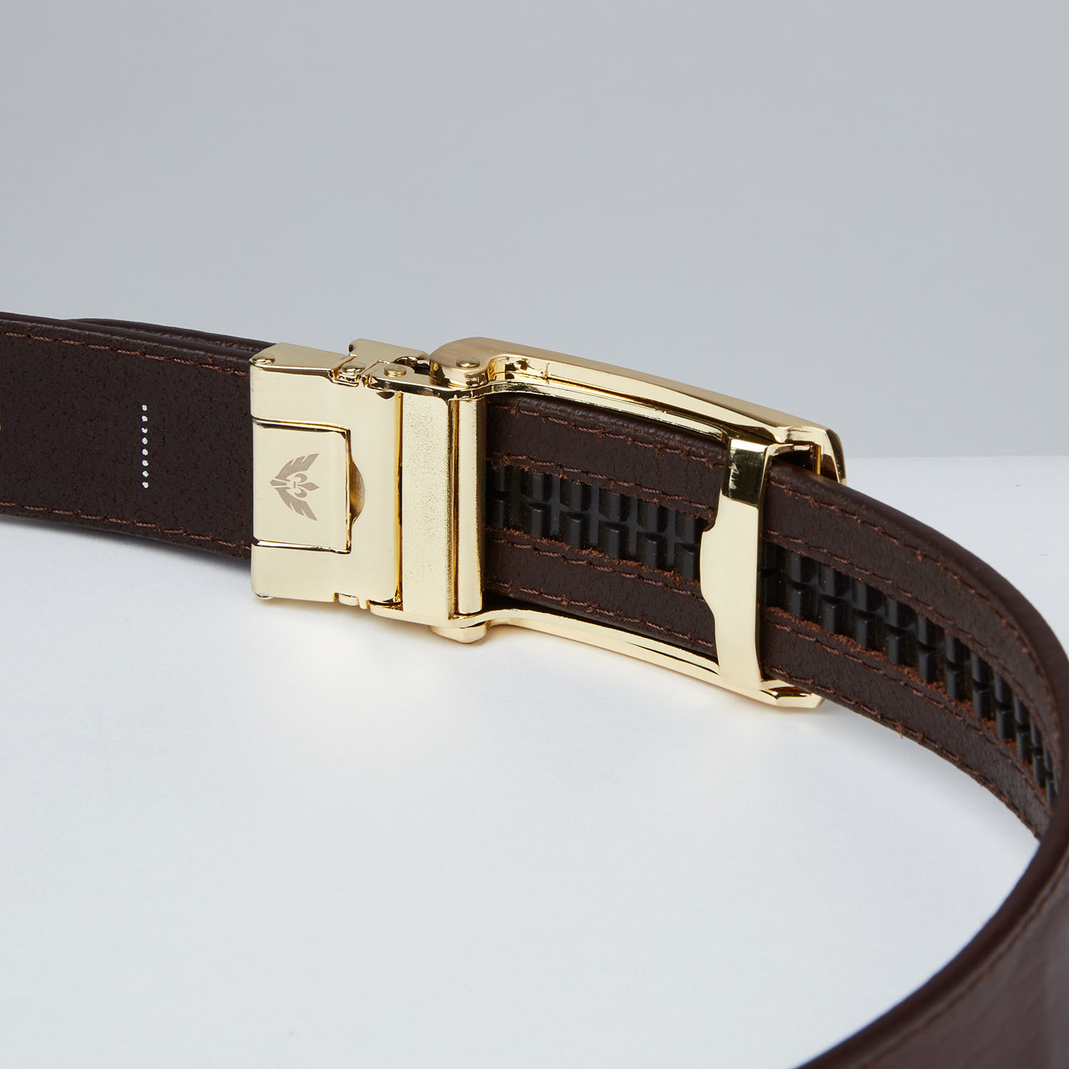 brown top grain leather belt gold slidebelts touch