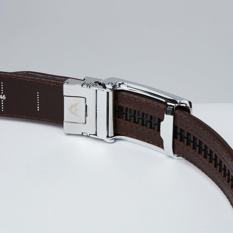 brown top grain leather belt big wing slidebelts