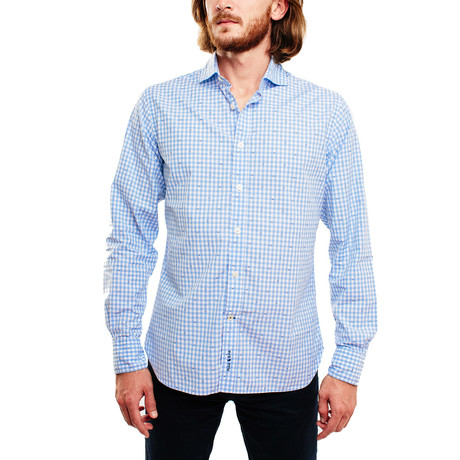 Miam Miam Casual Shirt // Light Blue + White Gingham