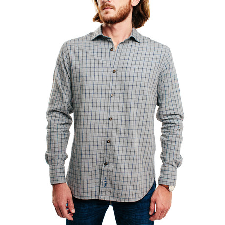 Vlang Casual Shirt // Light Grey Plaid