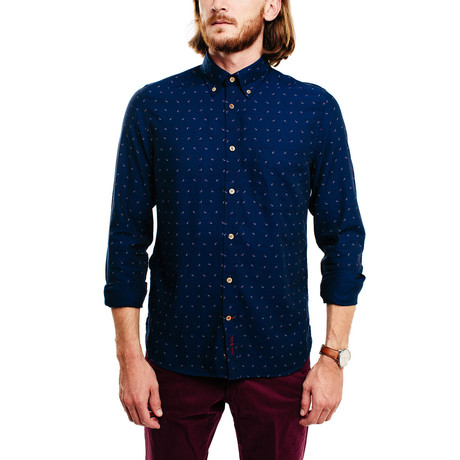 Tucutuc Casual Shirt // Dark Navy + Coloured Micro Pattern