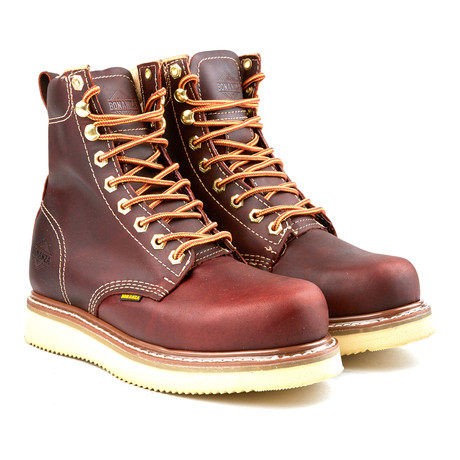 8'' Classic Round Wedge Boot // Burgundy (US: 6)