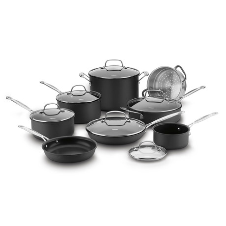 Chef's Classic Non-Stick Hard Anodized Cookware Set // 14 Piece Set