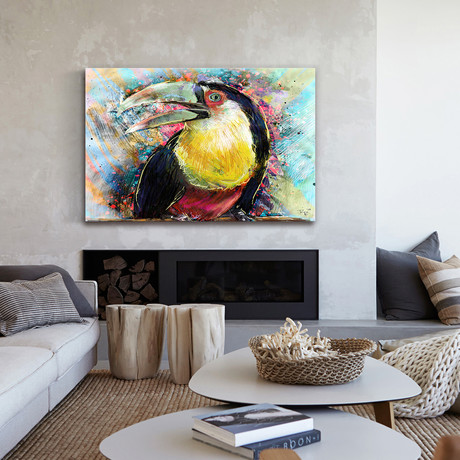 Yellow Breasted Toucan Painting Print // Wrapped Canvas
