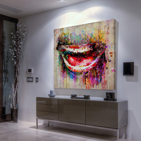 Color Drip Smile Painting Print // Wrapped Canvas