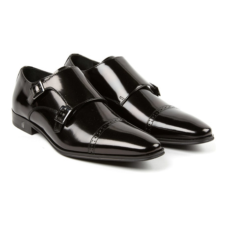 Double Monk Strap Cap Toe Loafer // Black (Euro: 39)