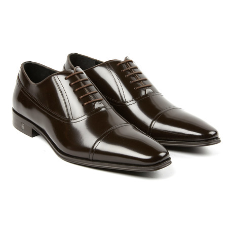 Lace-Up Long Seam Cap Toe Oxford // Brown (Euro: 41)