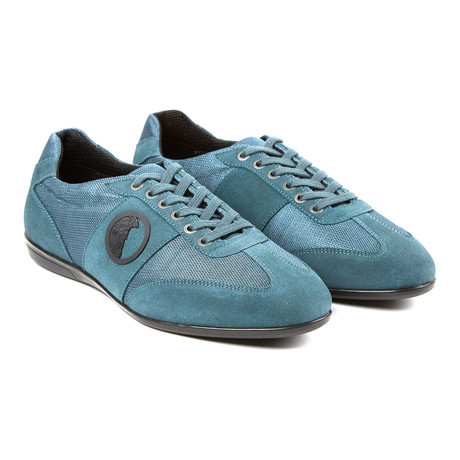 Mixed Texture Strip Lace-Up Sneaker // Blue + Antique Nickel