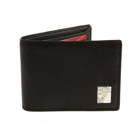 Saffiano Leather Bi-Fold Wallet // Black