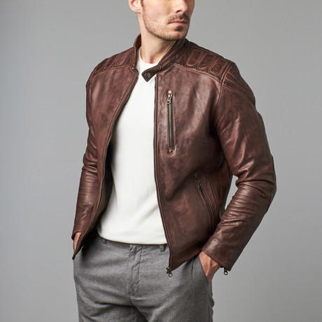 Quentin Patched Shoulder Zip Jacket // Copper (S)