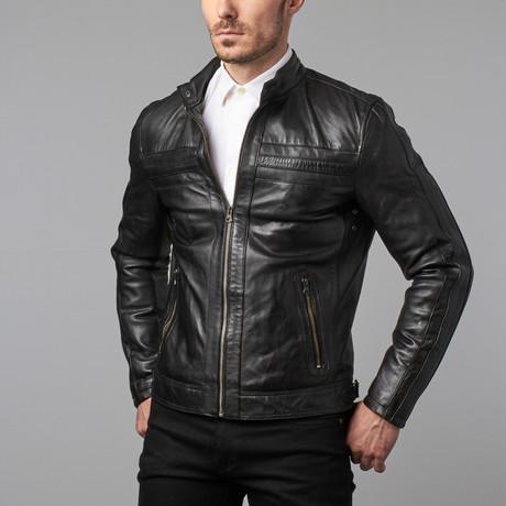 Landon Seamed Zip Moto Jacket // Black