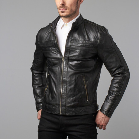 Landon Seamed Zip Moto Jacket // Black (2XL)