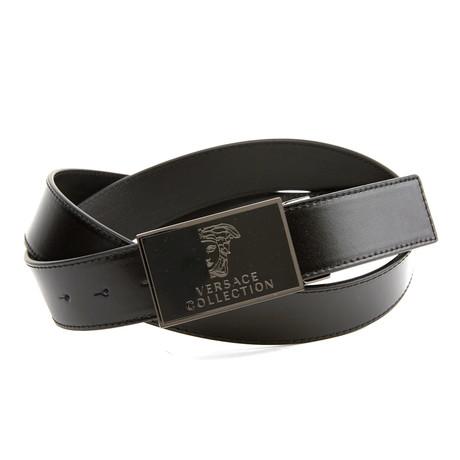 Versace Collection // Enamel Medusa Belt // Black + Nickel