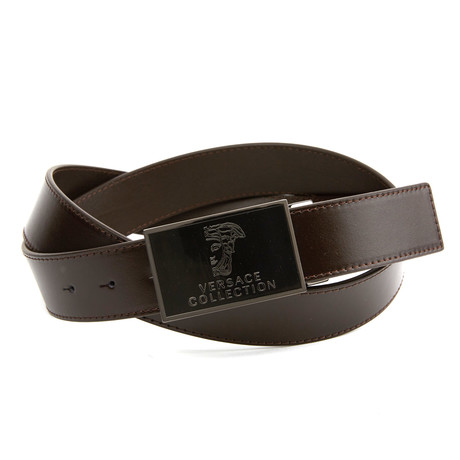 Versace Collection // Enamel Medusa Belt // Brown + Nickel