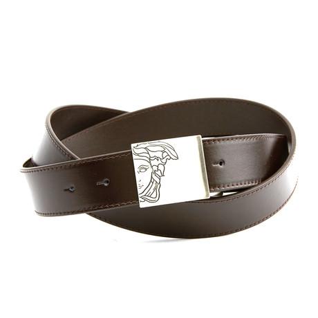 Engraved Medusa Belt // Brown