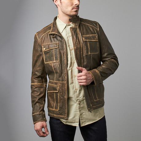 Shamus Distressed Edge Jacket // Olive